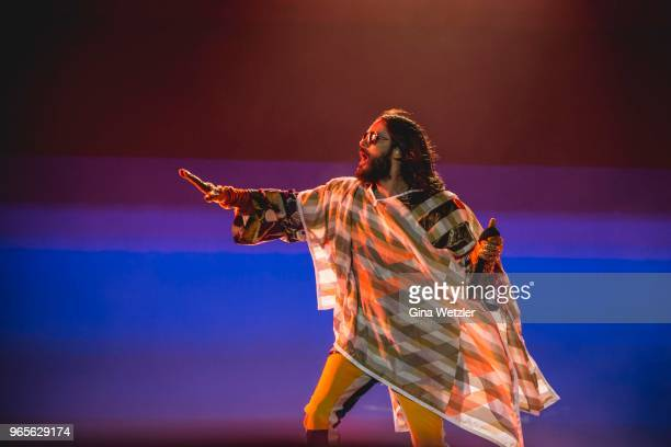 American singer Jared Leto of Thirty Seconds to Mars performs live on stage during Rock am Ring at Nuerburgring on June 1 2018 in Nuerburg Germany
