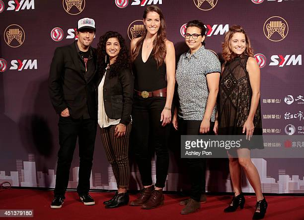American singer Jason Mraz and the band Raining Jane arrive at the 25th Golden Melody Awards on June 28 2014 in Taipei Taiwan Jason Mraz will perform...