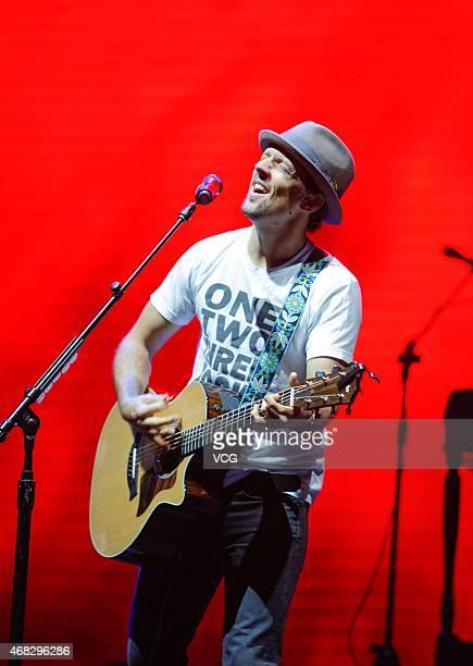 American singer Jason Mraz sings on the stage during his personal concert at Shanghai Gymnasium on April 1 2015 in Shanghai China