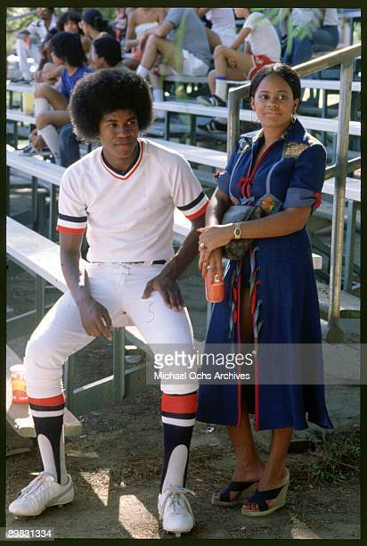 American singer Jermaine Jackson with Hazel Gordy the daughter of Motown founder Berry Gordy at a baseball match circa 1973 The pair were married on...