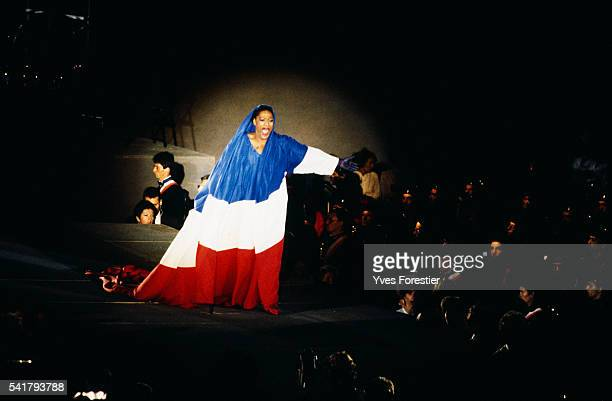 American singer Jessye Norman sings national anthem La Marseillaise during the French Revolution Bicentennial parade