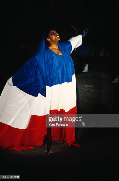 American singer Jessye Norman sings the national anthem La Marseillaise during the French Revolution Bicentennial parade