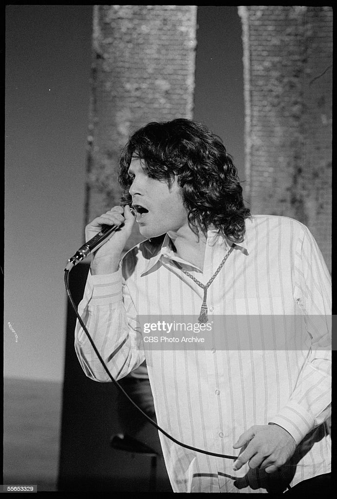 American singer Jim Morrison (1943 - 1971), leader of the rock band The Doors, performs on 'The Smothers Brothers Comedy Hour,' California, January 6, 1969.