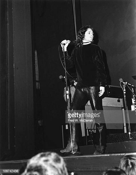 American singer Jim Morrison of the rock group the Doors performs on stage at the Fillmore East concert venue New York New York March 22 1968...