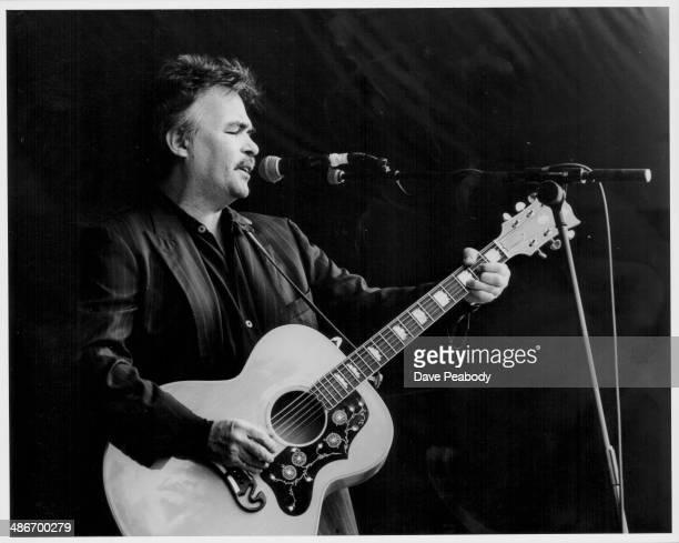 American singer John Prine on stage at the Cambridge Folk Festival, England, August 2nd 1992.