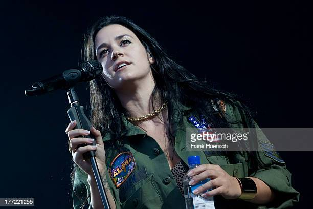 American singer Kat Dahlia performs live in support of Seeed during a concert at the Kindlbuehne Wuhlheide on August 22, 2013 in Berlin, Germany.