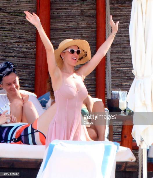 American singer Katy Perry is seen on a beach on May 09 2017 in Los Cabos Mexico