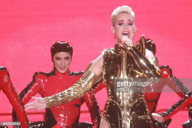 American singer Katy Perry performs during her concert at AsiaWorldExpo on March 30 2018 in Hong Kong China