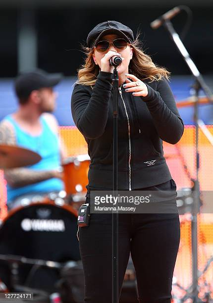 American singer Kelly Clarkson rehearses for her pre-game performance at the Rugby League Grand Final at ANZ Stadium on October 1, 2011 in Sydney,...