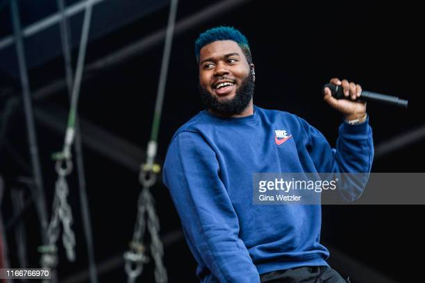 American singer Khalid performs live on stage during the second day of the Lollapalooza Berlin music festival at Olympiagelände on September 8, 2019...