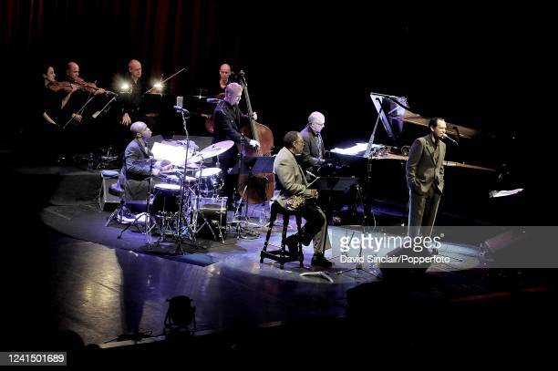 American singer Kurt Elling performs live on stage with his trio and saxophone player Bennie Maupin at Queen Elizabeth Hall in London on 18th...