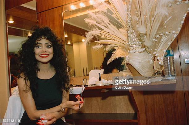 American singer La Toya Jackson backstage at her own revue 'Formidable' at the Moulin Rouge cabaret in Paris France 6th March 1992