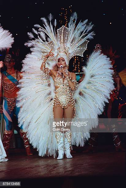 American singer La Toya Jackson performs her own revue 'Formidable' at the Moulin Rouge cabaret in Paris France 6th March 1992