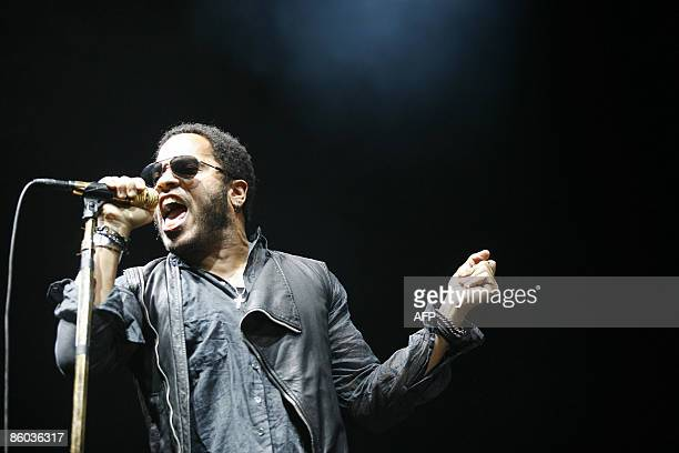 American singer Lenny Kravitz performs during a concert part of his 'Love Revolution Tour' at the Antwerp Sportpaleis on April 19 2009 AFP...