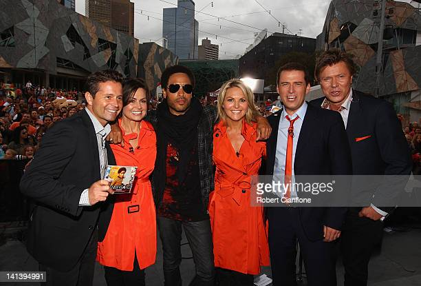 American singer Lenny Kravitz poses with the 'TODAY' show cast Steven Jacobs Lisa Wilkinson Georgie Gardner Karl Stefanovic and Richard Wilkins after...