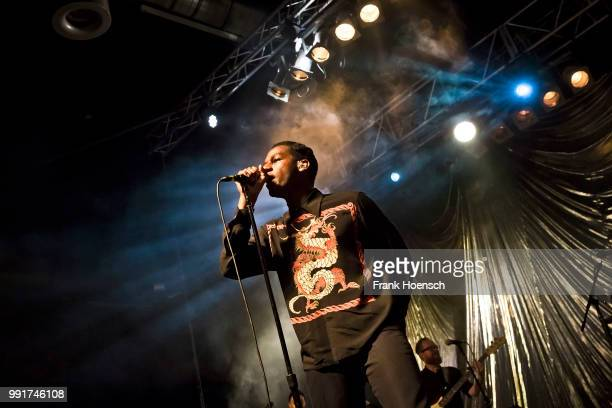 American singer Leon Bridges performs live on stage during a concert at the Huxleys on July 4, 2018 in Berlin, Germany.