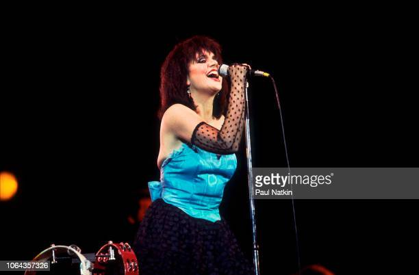 American singer Linda Ronstadt performs on stage at the Marcus Ampitheater in Milwaukee Wisconsin July 7 1983