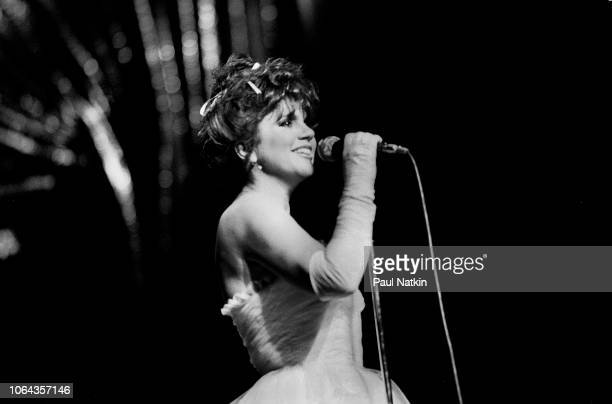 American singer Linda Ronstadt performs on stage at the Poplar Creek Music Theater in Hoffman Estates Illinois July 3 1984