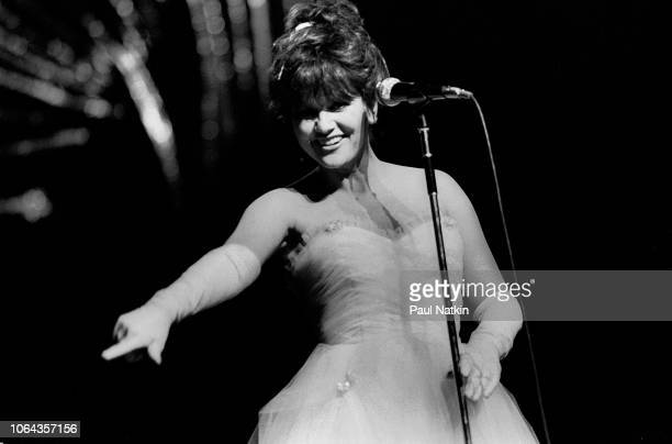 American singer Linda Ronstadt performs on stage at the Poplar Creek Music Theater in Hoffman Estates, Illinois, July 3, 1984.