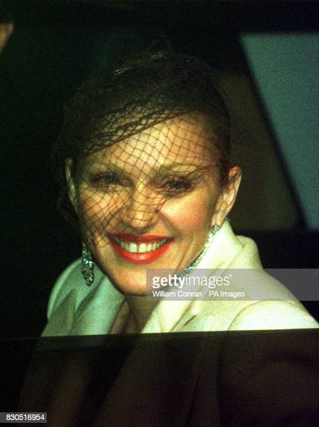 American singer Madonna arriving at Dornoch Cathedral in Sutherland Scotland for the christening of her and husbandtobe British film director Guy...