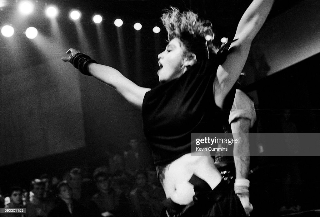 American singer Madonna at the Hacienda club, Manchester, for a performance to be shown on the TV music show 'The Tube', 27th January 1984.