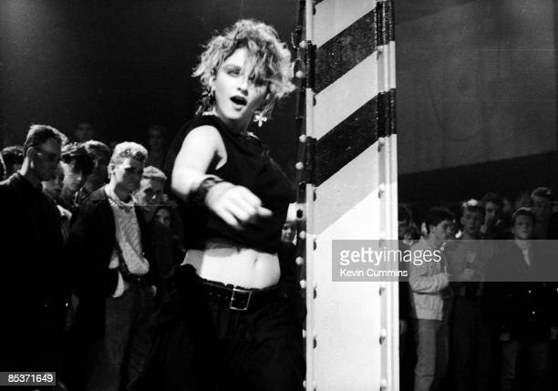 American singer Madonna at the Hacienda club Manchester for a performance to be shown on the TV music show 'The Tube' 27th January 1984