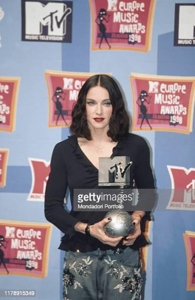 American singer Madonna being awarded at the MTV Europe Music Awards 1998. Milan, November 1998