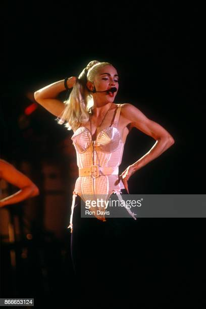 American singer Madonna performs on stage during a world tour circa 1990's