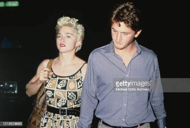 American singer Madonna with her husband, actor Sean Penn, 1986.