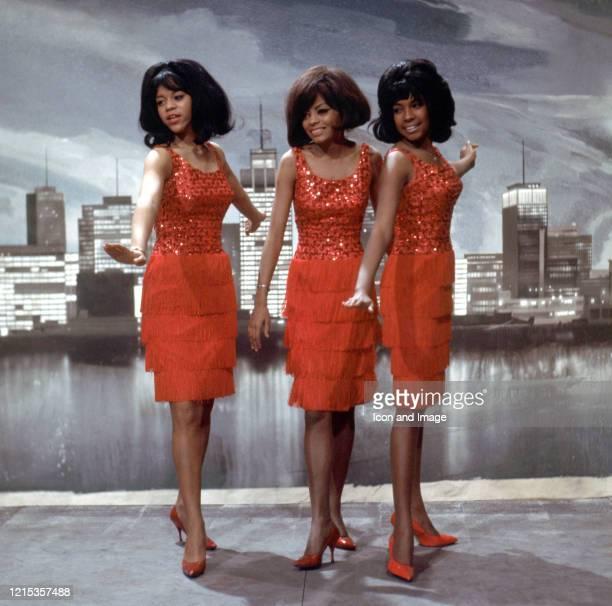 American singer Mary Wilson American actress and lead singer Diana Ross and American singer Florence Ballard all founding members of Motown's premier...