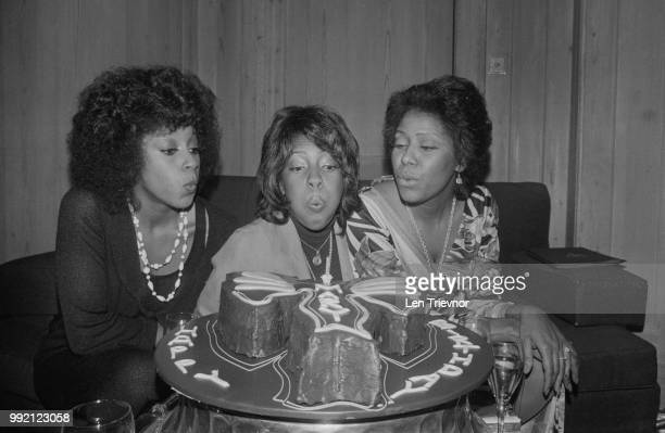 American singer Mary Wilson of RB trio The Supremes celebrating her birthday with Lynda Laurence and Jean Terrell UK 13th March 1973