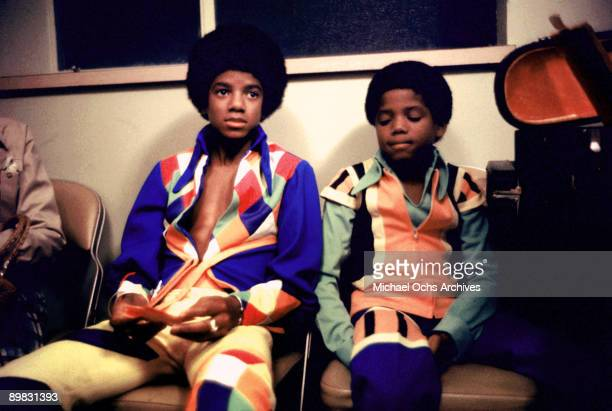 American singer Michael Jackson and his brother Randy backstage at the Inglewood Forum, 26th August 1973.