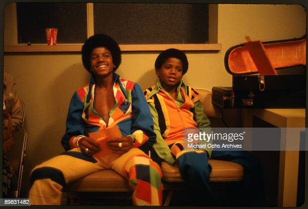 American singer Michael Jackson and his brother Randy backstage at the Inglewood Forum 26th August 1973