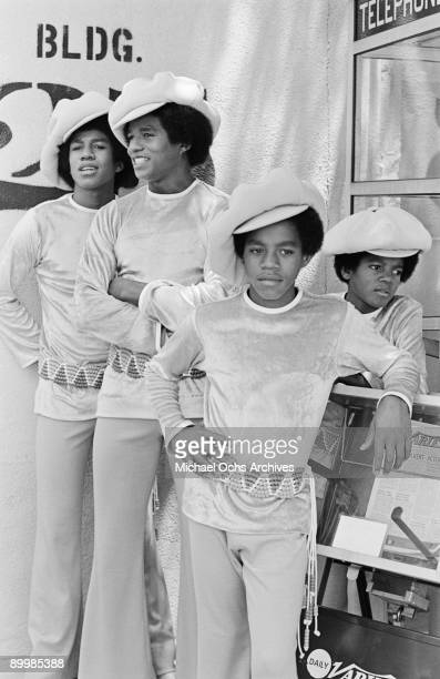 American singer Michael Jackson and part of the Jackson Five at the ABC Studios 9th July 1971 From left to right Jermaine Jackie Marlon and Michael