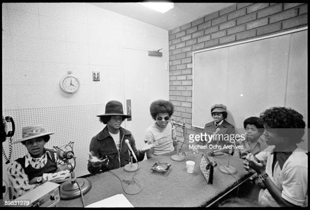 American singer Michael Jackson and the Jackson brothers are interviewed on KHJ Radio 25th January 1973 From left to right Marlon Jackie Tito Michael...