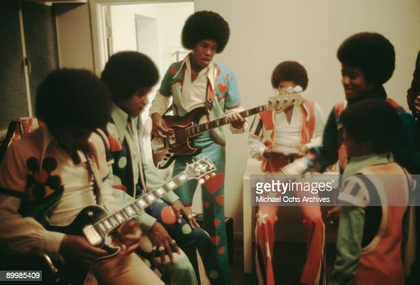 American singer Michael Jackson and the Jackson brothers backstage at the Inglewood Forum 26th August 1973