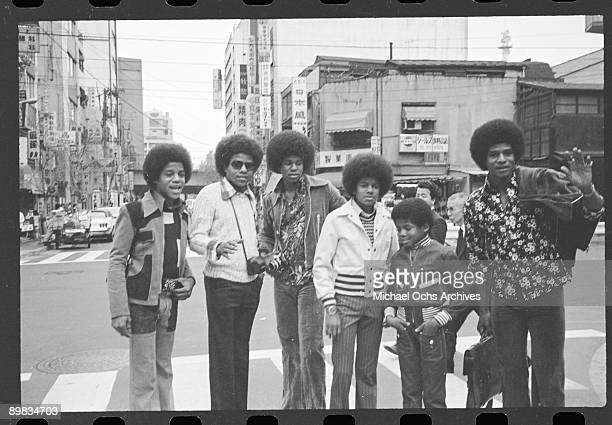 American singer Michael Jackson and the Jackson brothers in Japan 7th May 1973 From left to right Marlon Tito Jermaine Michael Randy and Jackie