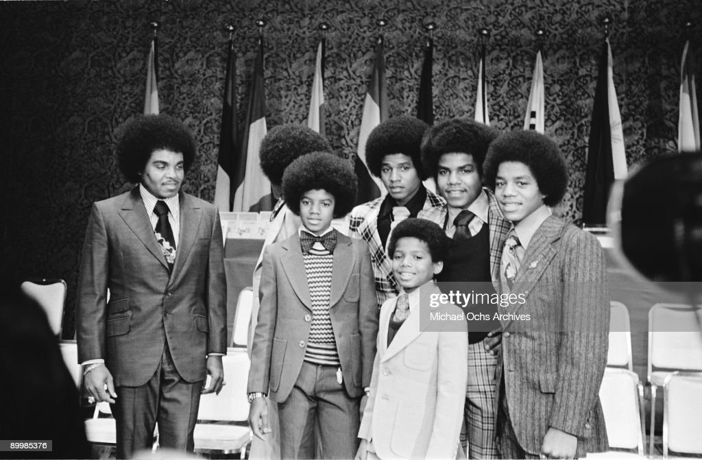 American singer Michael Jackson (1958 - 2009) and the Jackson brothers in Japan, with their father Joseph Jackson, May 1973.
