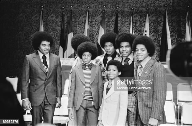 American singer Michael Jackson and the Jackson brothers in Japan with their father Joseph Jackson May 1973