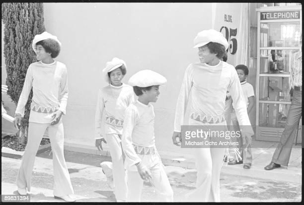 American singer Michael Jackson and the Jackson Five at the ABC Studios 9th July 1971 From left to right Jermaine Marlon Michael and Jackie