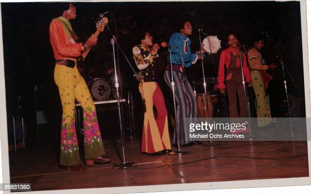 American singer Michael Jackson and the Jackson Five in concert circa 1970