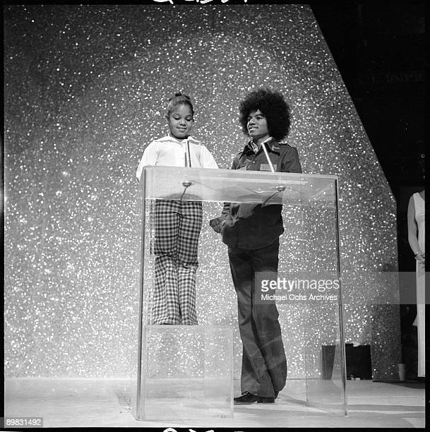 American singer Michael Jackson at the American Music Awards with his sister Janet Jackson 18th February 1975 The awards are being held at the Santa...