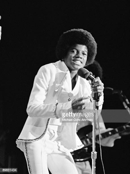American singer Michael Jackson in concert at the Inglewood Forum with The Jackson Five 26th August 1972