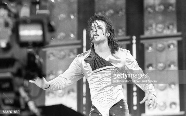 American singer Michael Jackson performing at Lansdowne Road during his Dangerous World Tour Dublin