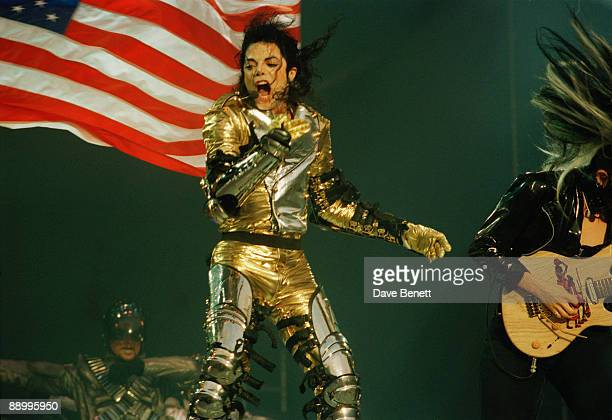 American singer Michael Jackson performing at Wembley Stadium London during the HIStory World Tour 15th July 1997