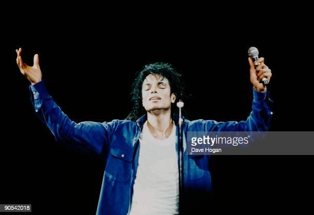 American singer Michael Jackson performing on stage 1988