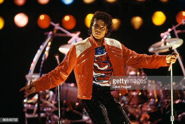 American singer Michael Jackson performing on stage circa 1987