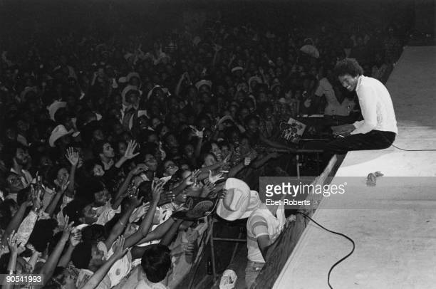 American singer Michael Jackson performing on stage with The Jacksons on their Destiny Tour USA 3rd October 1979