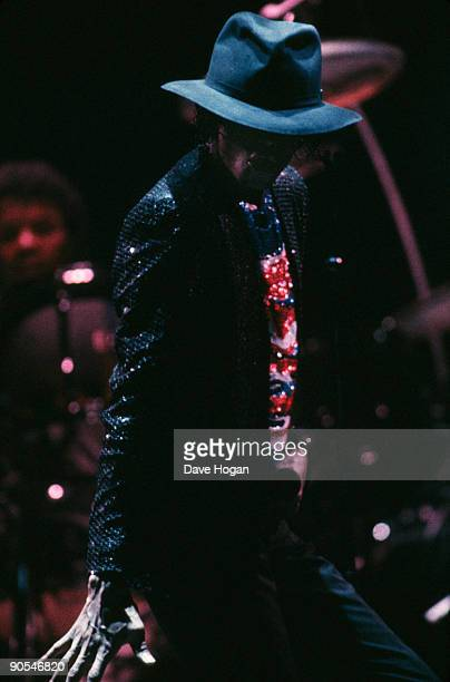 American singer Michael Jackson performing on stage with The Jacksons 1984