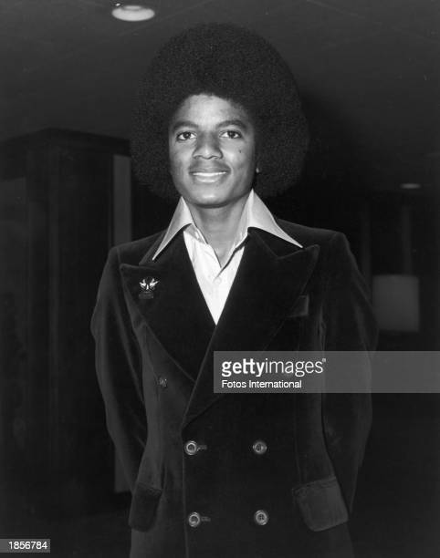American singer Michael Jackson poses before attending a Doobie Brothers concert at the Century Plaza Hotel Los Angeles California June 1977